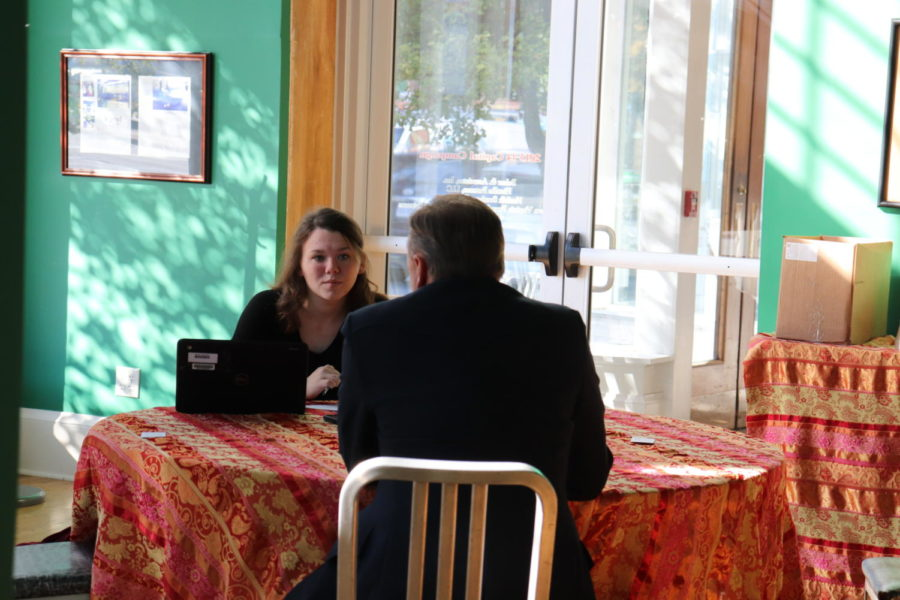 Shannon Healy in the middle of an interview with executive director, David Crane, of the Roanoke Symphony Orchestra