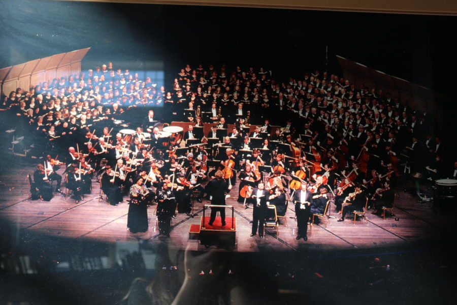 While browsing the walls on the Roanoke Symphony Orchestra, a picture of the symphony  at a concert was found.